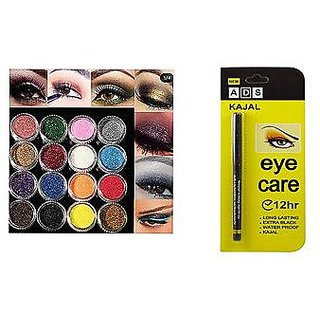 Multi Color Glitter Eye Pigment HOT NEW 12 PCS + ADS Long Lasting Extra Black Kajal