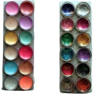 Vozwa 12 in 1 Multi Shimmer Powder and Multi Glitter Powder