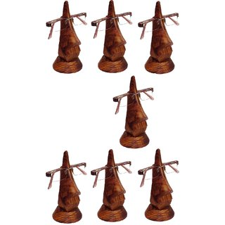 Desi Karigar Beautiful Unique Hand Carved Rosewood Nose-Shaped Spectacle Holder Family Pack (Set Of 7)