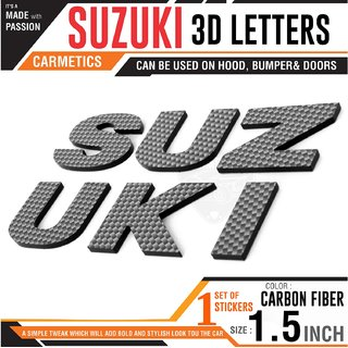 Carmetics SUZUKI 3d letters 3d stickers logo emblem styling accessories for Maruti Suzuki Omini  1set  Carbon Fiber Fi