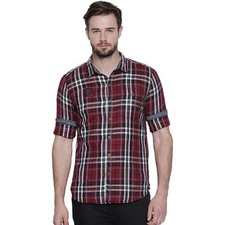 Jeaneration Maroon Cotton Twill Plaids Shirt for Men