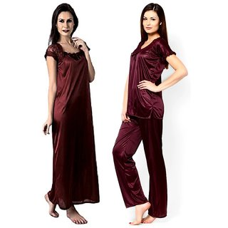 Night suit with  Coffee color satin XL Medium Night wear set for women