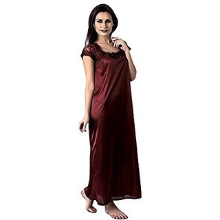 Riya Coffee colour sating night gown ,night dress only on 249