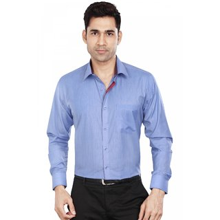 Dudlind Mens Formal Slim Fit Plain Sort Shirt - Full Sleeves - Colour Blue - Medium Size 38 inches