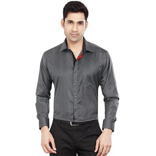 Dudlind Mens Formal Slim Fit Thin Striped Shirt - Full Sleeves - Colour Black - Medium Size 38 inches