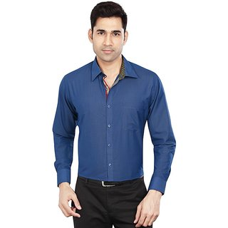Dudlind Mens Formal Slim Fit Plain Sort Shirt - Full Sleeves - Colour Dark Blue - Medium Size 38 inches