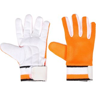 AS Cricket Batting Inner Gloves in White and Orange - Cotton Gloves Padded, Sponge Jali, Has Towel Wrist, Standard size