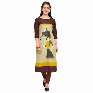 FASHION CARE present Royal Crepe Printed  kurti for women's (speciality printed long pattern calf length brown color kur