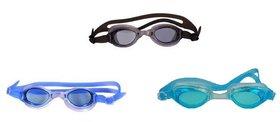 HIPKOO WHIRL ANTI FOG UV PROTECTION Swimming blue ,light blue  black (pack of 3)