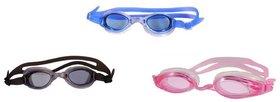 HIPKOO WHIRL ANTI FOG UV PROTECTION Swimming pink ,blue  black (pack of 3)