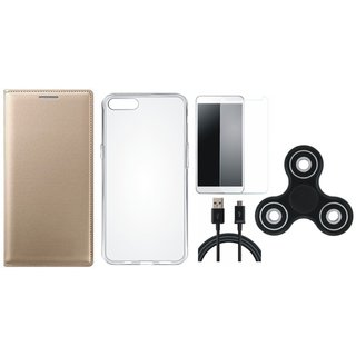 Lenovo K8 Stylish Leather Cover with Spinner, Silicon Back Cover, Tempered Glass and USB Cable by Vivacious ( Gold )