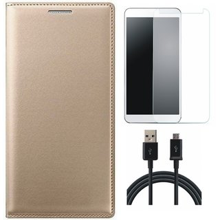 K8 Plus Leather Flip Cover with Tempered Glass and USB Cable (Gold ) by Vivacious