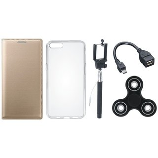 Lenovo K8 Premium Leather Cover with Spinner, Silicon Back Cover, Selfie Stick and OTG Cable by Vivacious ( Gold )