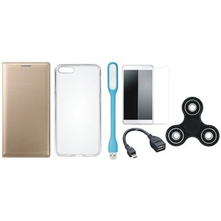Lenovo K8 Flip Cover with Spinner, Silicon Back Cover, Tempered Glass, USB LED Light and OTG Cable by Vivacious ( Gold )