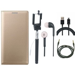 Lenovo K8 Stylish Leather Cover with Selfie Stick, Earphones, USB Cable and AUX Cable by Vivacious ( Gold )