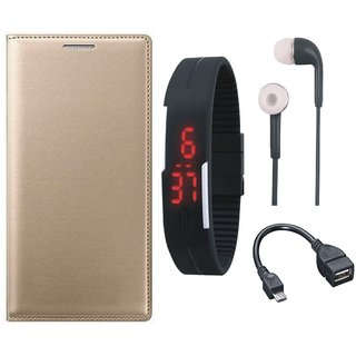 Lenovo K8 Flip Cover with Digital Watch, Earphones and OTG Cable by Vivacious ( Gold )