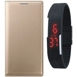 Lenovo K8 Stylish Leather Cover with Digital Watch by Vivacious ( Gold )
