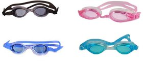 HIPKOO WHIRL ANTI FOG UV PROTECTION Swimming pink, light blue ,blue  black (pack of 4)