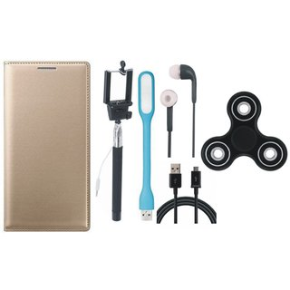 K8 Plus Premium Leather Cover with Spinner, Selfie Stick, Earphones, USB LED Light and USB Cable by Vivacious ( Gold )