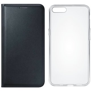 K8 Plus Cover with Silicon Back Cover (Black) by Vivacious