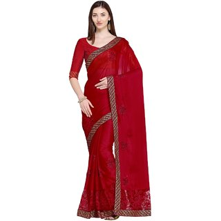 Aagaman Red Georgette & Net Party Wear Embroidered Saree