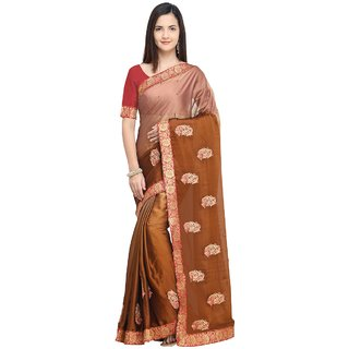 Aagaman Brown Georgette Party Wear Embroidered Saree