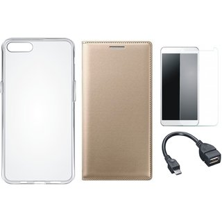 Redmi Y1 Flip Cover with Silicon Back Cover, Tempered Glass and OTG Cable by Vivacious ( Gold )
