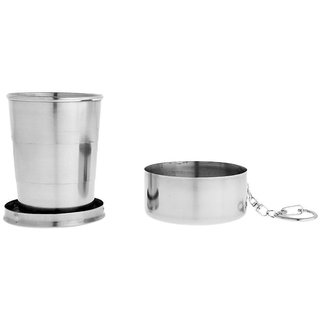 DY Collapsible Telescopic Cup Stainless Steel Portable Folding Keychain Cups for Outdoor Travel