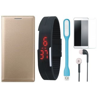 Oppo F3 Flip Cover with Free Digital LED Watch, Tempered Glass, LED Light and Earphones by Vivacious ( Gold )