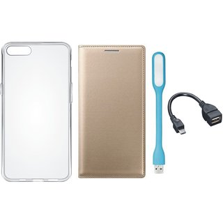 Oppo F3 Premium Leather Cover with Silicon Back Cover, USB LED Light and OTG Cable by Vivacious ( Gold )