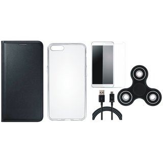 Redmi Y1 Premium Leather Cover with Spinner, Silicon Back Cover, Tempered Glass and USB Cable by Vivacious ( Black )