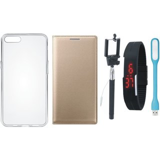 Redmi Y1 Stylish Leather Cover with Silicon Back Cover, Selfie Stick, Digtal Watch and USB LED Light by Vivacious ( Gold )