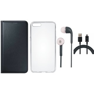 Redmi Y1 Stylish Leather Cover with Silicon Back Cover, Earphones and USB Cable by Vivacious ( Black )