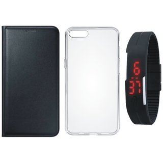 Oppo F3 Premium Leather Cover with Silicon Back Cover, Digital Watch by Vivacious ( Black )