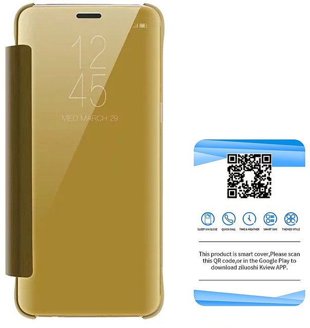 Clear Mirror View Flip Case Cover for Samsung Galaxy Note 9 - Gold