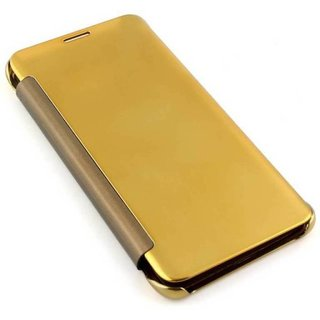 buy online 6b89d b1783 Clear Mirror View Flip Case Cover for Samsung Galaxy J6 Plus - Gold