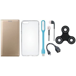 Oppo F3 Flip Cover with Spinner, Silicon Back Cover, Earphones, USB LED Light and OTG Cable by Vivacious ( Gold )