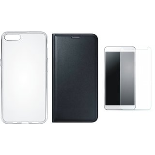 Oppo F3 Stylish Leather Cover with Silicon Back Cover, Tempered Glass by Vivacious ( Black )