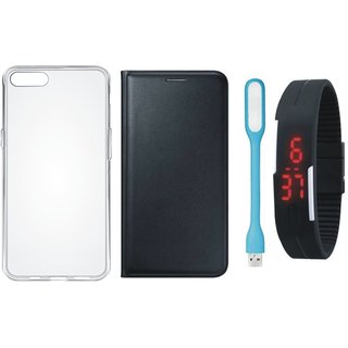 Oppo F3 Premium Leather Cover with Silicon Back Cover, Digital Watch and USB LED Light by Vivacious ( Black )