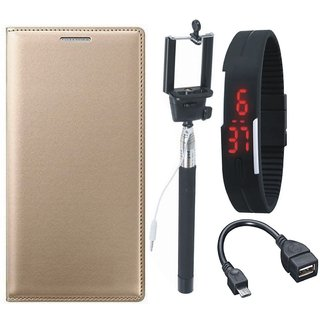 Oppo F3 Stylish Leather Cover with Selfie Stick, Digtal Watch and OTG Cable by Vivacious ( Gold )