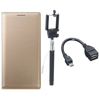 Oppo F3 Premium Leather Cover with Selfie Stick and OTG Cable by Vivacious ( Gold )