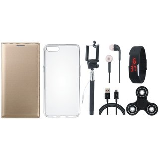 Oppo F3 Premium Leather Cover with Spinner, Silicon Back Cover, Selfie Stick, Digtal Watch, Earphones and USB Cable by Vivacious ( Gold )