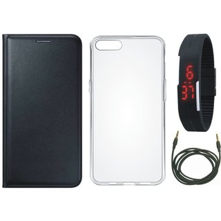 Redmi Y1 Lite Flip Cover with Silicon Back Cover, Digital Watch and AUX Cable (Black) by Vivacious