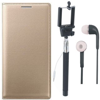 Oppo F3 Premium Leather Cover with Selfie Stick and Earphones by Vivacious ( Gold )