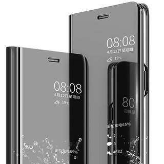 Clear Mirror View Flip Case Cover for Vivo Y71 - Black