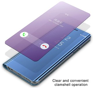 Clear Mirror View Flip Case Cover for Oppo A3s - Blue