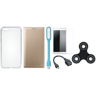 Oppo F3 Stylish Leather Cover with Spinner, Silicon Back Cover, Tempered Glass, USB LED Light and OTG Cable by Vivacious ( Gold )