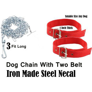 Dog Chain wITH 2 pIcs Col er Belt (Steel)