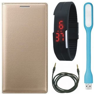 Vivo Y69 Stylish Leather Cover with Digital Watch, USB LED Light and AUX Cable by Vivacious ( Gold )