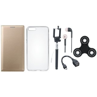 Vivo Y69 Stylish Leather Cover with Spinner, Silicon Back Cover, Selfie Stick, Earphones and OTG Cable by Vivacious ( Gold )